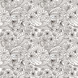 Vector abstract seamless pattern of outline nature ornaments. Coloring book illustration. Vector abstract seamless pattern of outline nature ornaments. Coloring Royalty Free Stock Photography