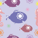 Vector Abstract seamless pattern of sun fishes Royalty Free Stock Photo