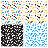 Vector abstract seamless patterns in trendy pop art linear style Stock Photo