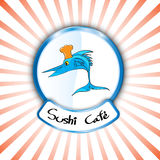 Vector abstract sign sushi shop logo fresh fish cooking design. EPS 10 Stock Image