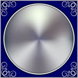 Vector abstract silver circle on blue background Stock Images
