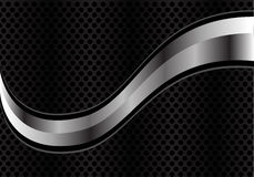 Vector abstract silver curve on black circle mesh. Royalty Free Stock Images