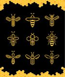 Vector abstract simple bee icons. Vector yellow abstract simple bee icons collections on a black background stock illustration
