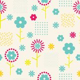Vector abstract simple floral seamless pattern background stock illustration