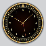 Vector abstract simple round clock. Vector abstract simple round black clock with digits and gold border Stock Photography