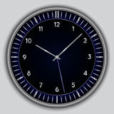 Vector abstract simple round clock. Vector abstract simple round black clock on gray background Royalty Free Stock Images