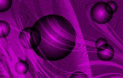 Vector abstract smoky waves with textures, 3d bolls and violet shaded background, vector illustration. Many uses for backgrounds,paintings, book covers,screen Stock Images