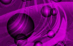 Vector abstract smoky waves with textures, 3d bolls and violet shaded background, vector illustration. Many uses for backgrounds,paintings, book covers,screen vector illustration