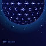 Vector abstract sphere with shining stars, futuristic background Royalty Free Stock Photography