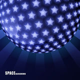 Vector abstract sphere with shining stars and rays, space backgr Royalty Free Stock Image