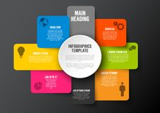 Multipurpose Infographic template. Vector abstract squares and rectangles infographic template with place for your content - dark version royalty free illustration