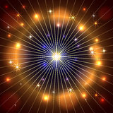 Vector abstract star, rays and fire dark Stock Image