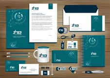 Vector abstract stationery Editable corporate identity template design, Gift Items business Color promotional souvenirs elements. Link digital technology vector illustration