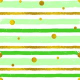 Background with green and golden strips. Vector abstract striped seamless pattern with golden circles. Decorative grunge background with green and golden strips Royalty Free Stock Image