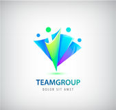 Vector abstract stylized family, team lead icon, logo, sign isolated. Business, group of people Royalty Free Stock Image