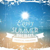Vector abstract summer poster with beach background Stock Photos