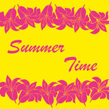 Vector abstract summer time background. With flower frame Royalty Free Stock Photos