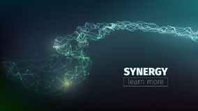 Vector abstract synergy concept. Teamwork llustration. Collective work. Programming flow stock illustration