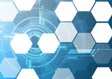 Vector abstract technological hexagon display interface backgrou Stock Images