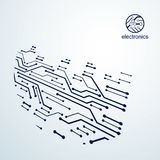 Vector abstract technology illustration with circuit board. High Royalty Free Stock Images