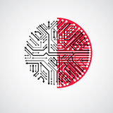 Vector abstract technology illustration with round black and red Royalty Free Stock Images