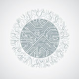 Vector abstract technology illustration with round monochrome ci Stock Images