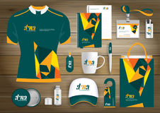 Vector abstract technology sport design with Gift Items, Color promotional souvenirs design for link corporate identity. Vector abstract technology sport design Stock Photography