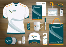 Vector abstract technology sport design with Gift Items, Color promotional souvenirs design for link corporate identity. Vector abstract technology sport design Royalty Free Stock Photography