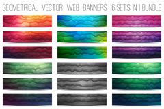 Vector Abstract Technology Web Banners. Bundle of abstract 3d vector polygonal waveform digital technology web banners for business, internet, advertising, ui Stock Image