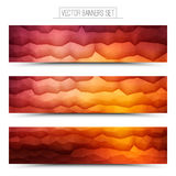 Vector Abstract Technology Web Banners. Abstract 3d vector bright waveform digital technology web banners set for business, internet, advertising, ui, seo Stock Image