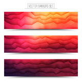Vector Abstract Technology Web Banners. Abstract 3d vector bright waveform digital technology web banners set for business, internet, advertising, ui, seo Royalty Free Stock Photos