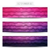 Vector Abstract Technology Web Banners. Abstract 3d vector polygonal waveform digital technology pink violet web banners set for business, internet, advertising Stock Image