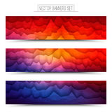 Vector Abstract Technology Web Banners. Abstract 3d vector polygonal waveform digital technology web banners set for business, internet, advertising, ui, seo Stock Photo