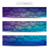 Vector Abstract Technology Web Banners. Abstract 3d vector polygonal waveform digital technology web banners set for business, internet, advertising, ui, seo Stock Photos