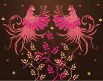 Vector abstract textile designs. Rooster jump fly, flap their wings, visible fur fly, claw foot forward ready to fight, flowers or plants at the bottom Royalty Free Stock Photography