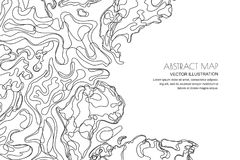 Vector abstract topographic map. Outline landscape background with copy space. Topography, geodesy line texture. Vector abstract contour topographic map Royalty Free Stock Image