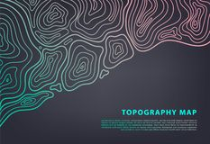 Vector abstract topography map banner. Topographic contour background. Topo grid. royalty free illustration