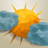 Vector abstract triangle clouds and sun Royalty Free Stock Images