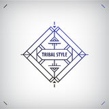 Vector abstract tribal line shape, logo, frame isolated. Boho, geometric style Royalty Free Stock Image