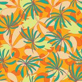 Vector abstract tropical foliage seamless pattern background. royalty free illustration