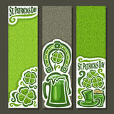 Vector abstract vertical Banners for St. Patrick`s Day Stock Images