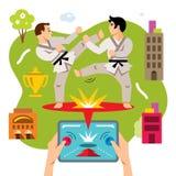 Vector Abstract virtueel gevechts mobiel spel De vlakke illustratie van het stijl kleurrijke Beeldverhaal Stock Foto