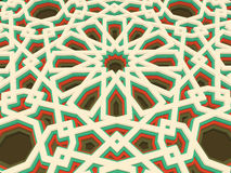 Vector abstract volumetric geometric background. Based on islamic ethnic ornaments. 3d extruded ornament elements. Royalty Free Stock Photos