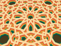 Vector abstract volumetric geometric background. Based on islamic ethnic ornaments. 3d extruded ornament elements. Stock Images