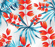 Vector abstract watercolor pattern with palm leaves and roses. Stock Photography