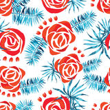 Vector abstract watercolor pattern with palm leaves and roses. Stock Photo
