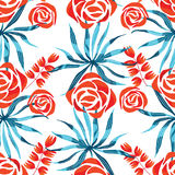 Vector abstract watercolor pattern with palm leaves and roses. Stock Image