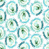 Vector abstract watercolor swirls seamless pattern. Blue circles tile background Stock Photo