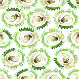 Vector abstract watercolor swirls seamless pattern. Green circles tile background Royalty Free Stock Photo