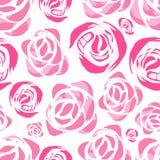 Vector abstract waterverfpatroon met roze bloemen Stock Fotografie